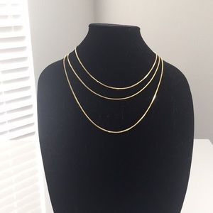 18k yellow gold over sterling foxtail chain set
